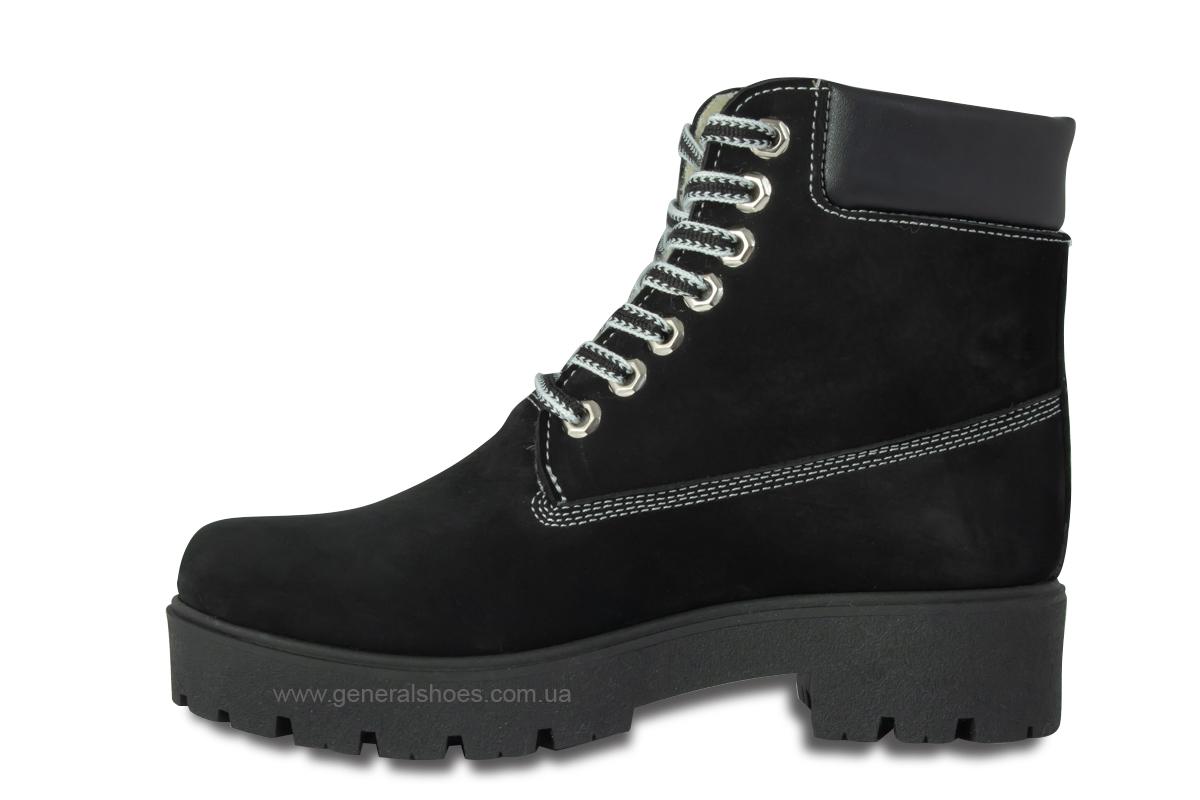 Зимние женские ботинки 07 нубук черные фото 7