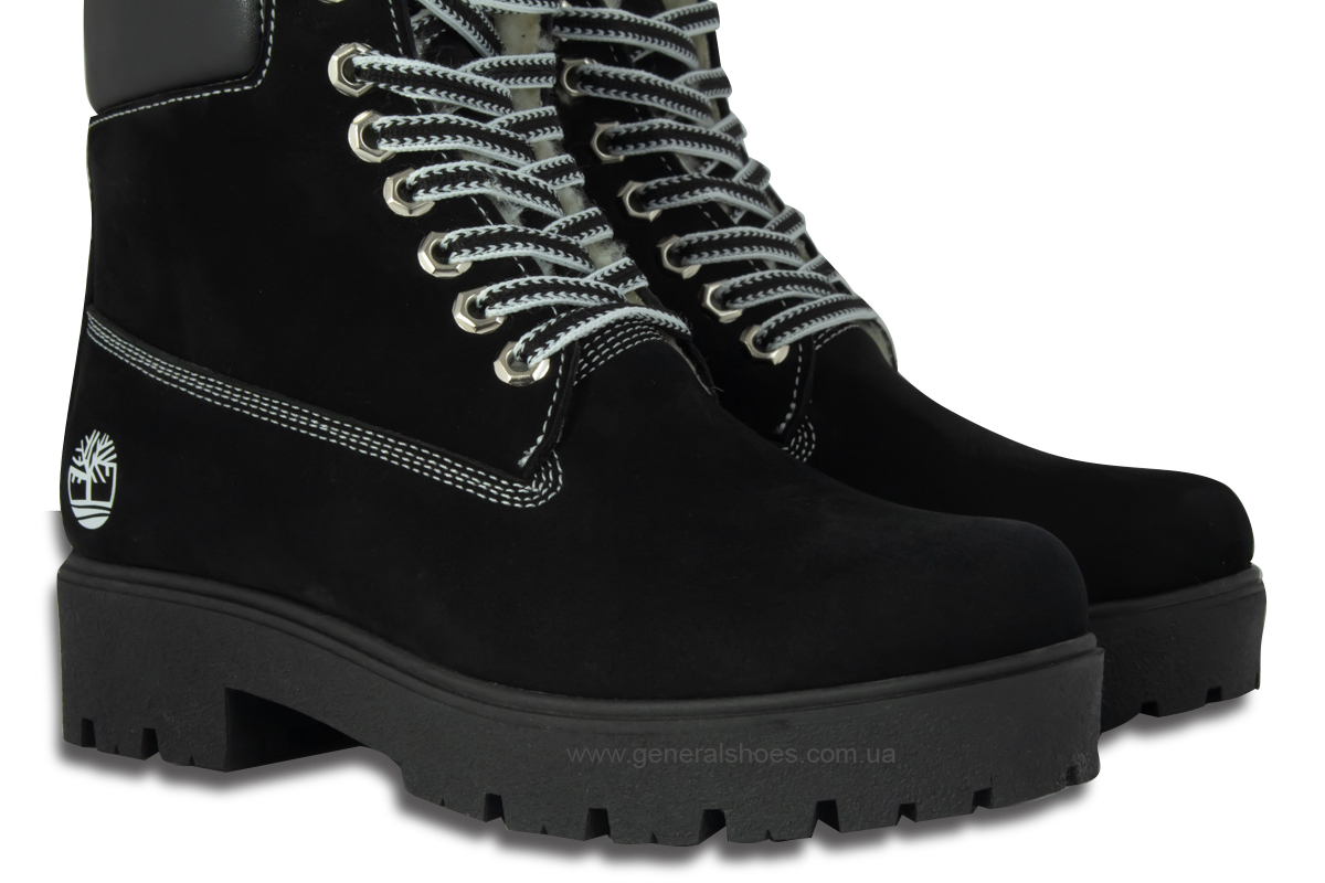 Зимние женские ботинки 07 нубук черные фото 8