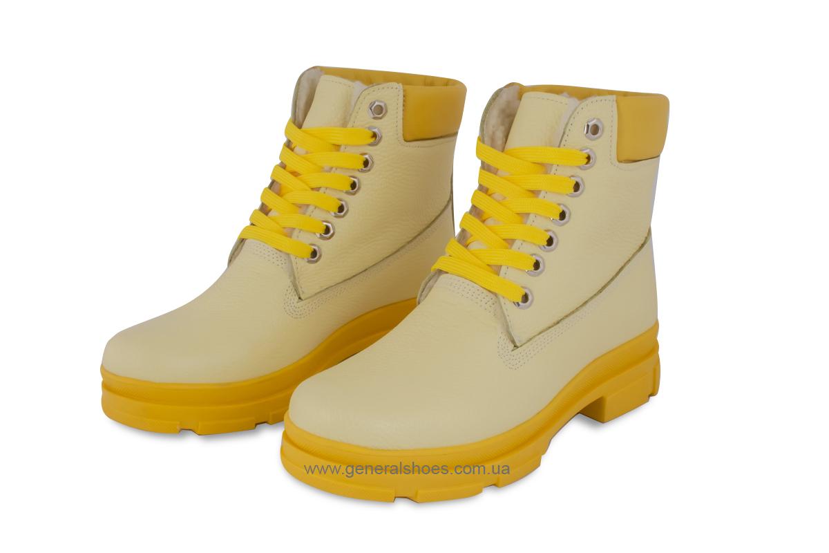 Зимние женские ботинки кожаные GL 501 желтые фото 1
