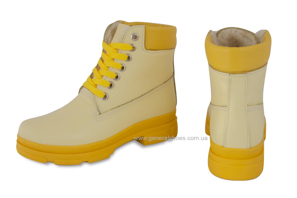 Зимние женские ботинки кожаные GL 501 желтые фото 2