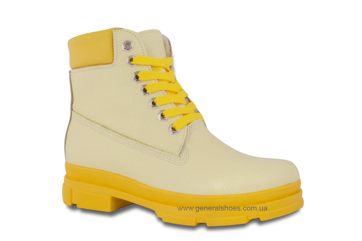 Зимние женские ботинки кожаные GL 501 желтые фото 3
