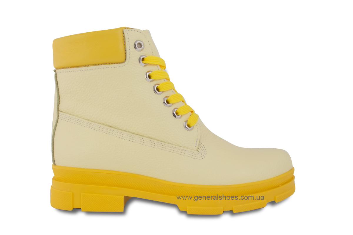 Зимние женские ботинки кожаные GL 501 желтые фото 4