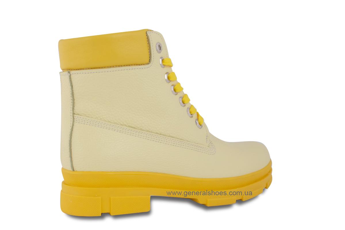 Зимние женские ботинки кожаные GL 501 желтые фото 5