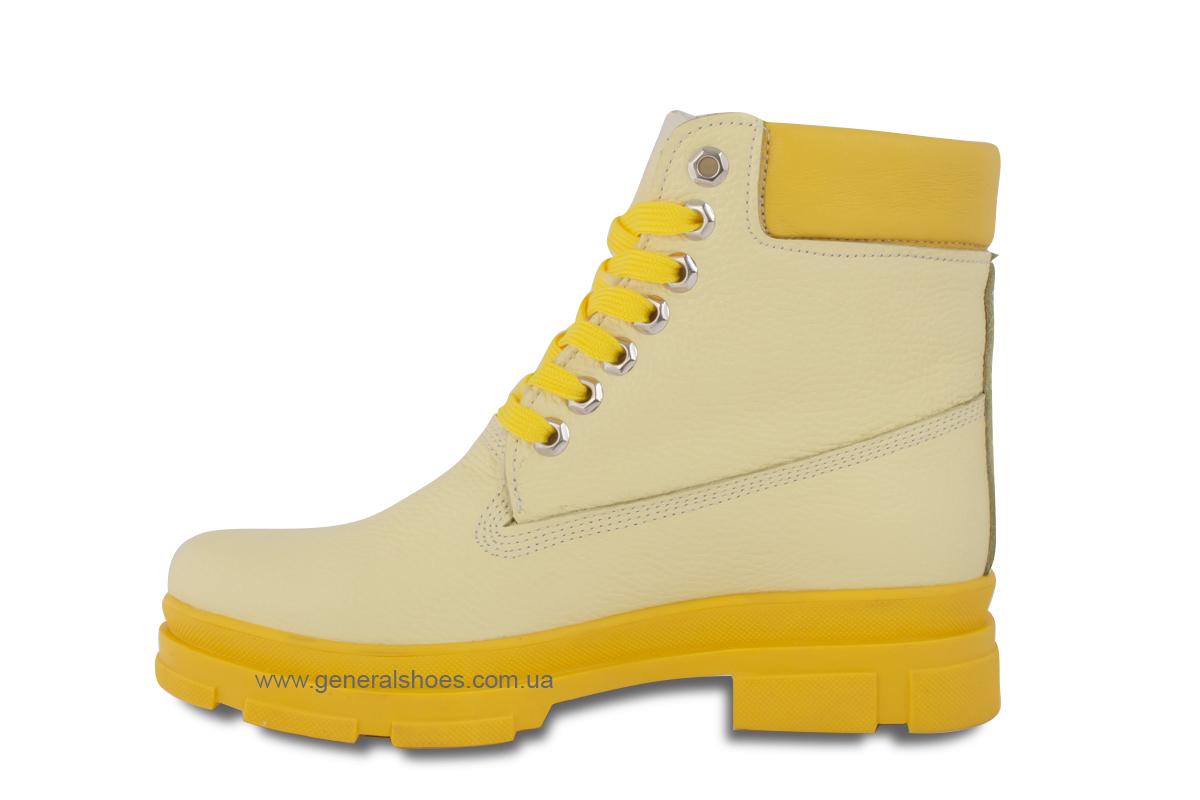 Зимние женские ботинки кожаные GL 501 желтые фото 6