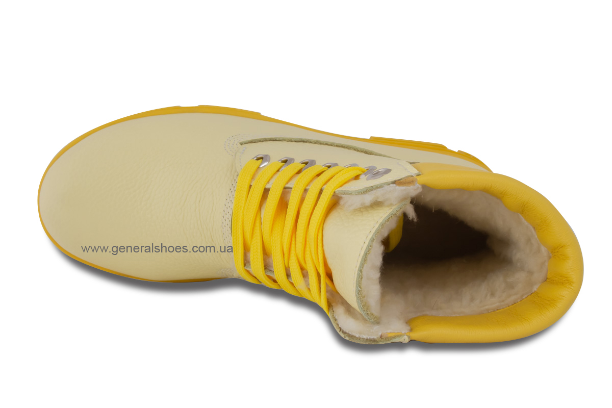 Зимние женские ботинки кожаные GL 501 желтые фото 7