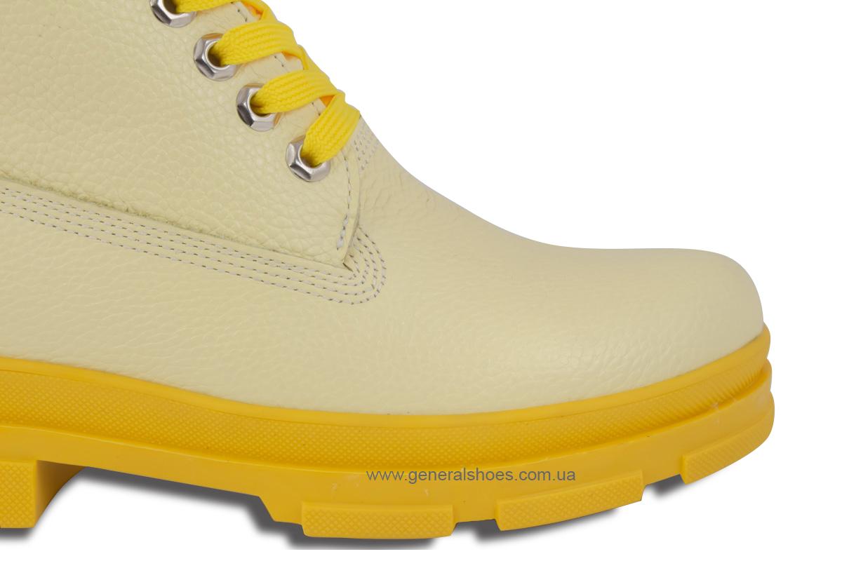 Зимние женские ботинки кожаные GL 501 желтые фото 8