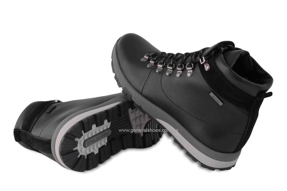 Мужские зимние кожаные ботинки Ed-Ge 247 черные фото 2