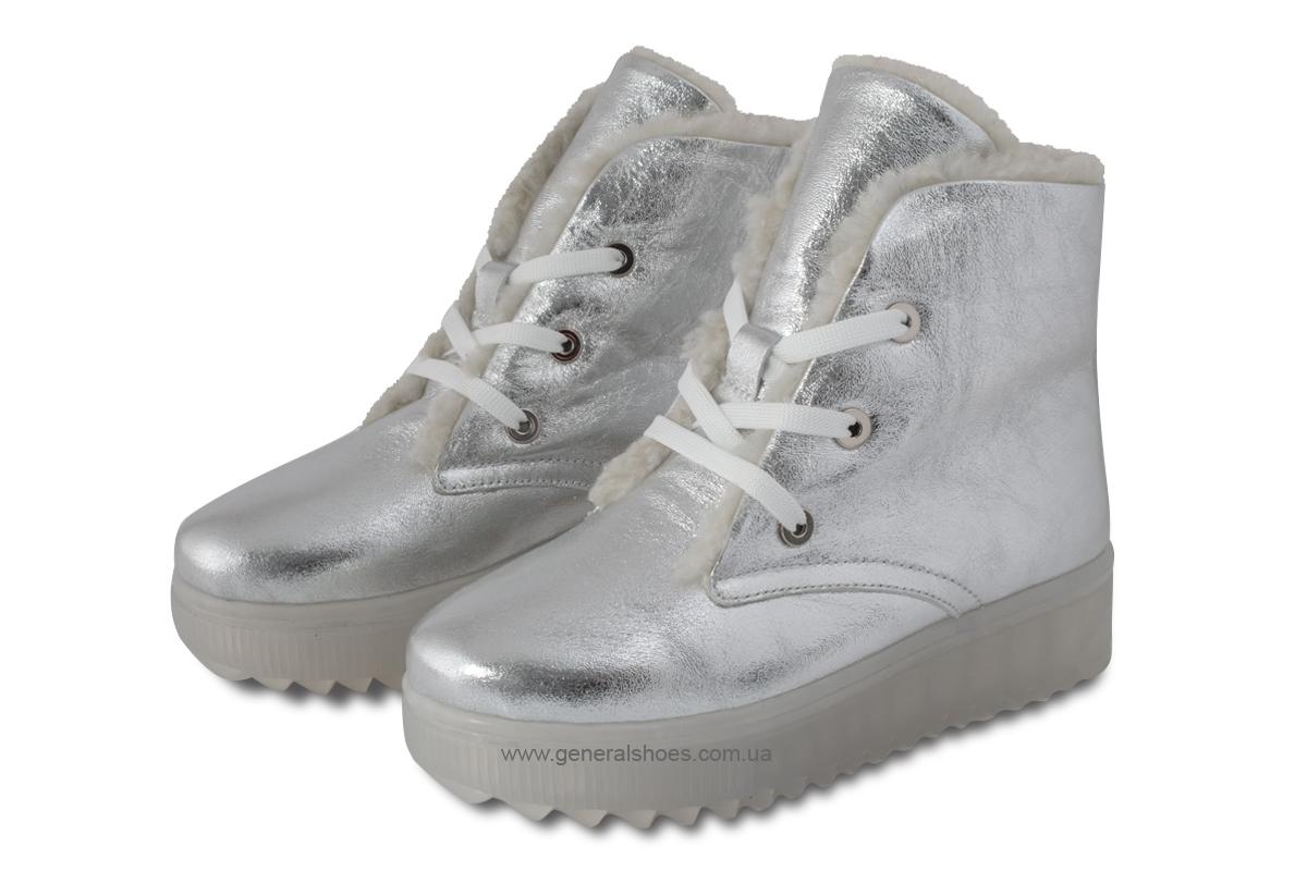 Зимние женские кожаные ботинки 925 серебро фото 1