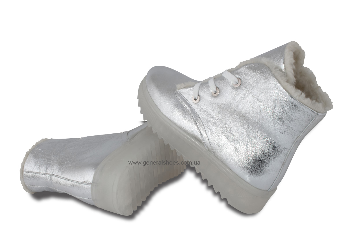 Зимние женские кожаные ботинки 925 серебро фото 2