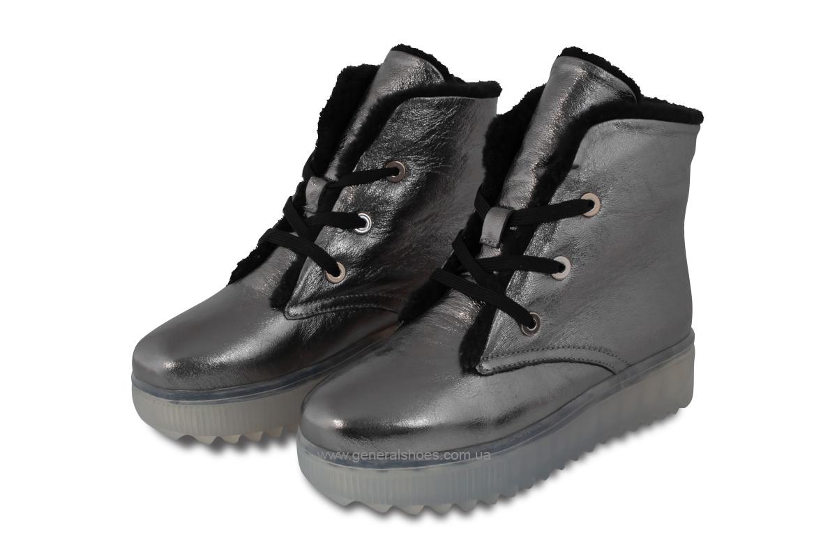 Зимние женские кожаные ботинки 926 никель фото 1