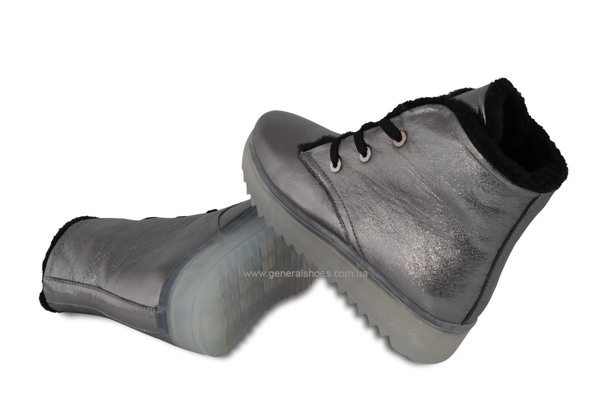 Зимние женские кожаные ботинки 926 никель фото 2
