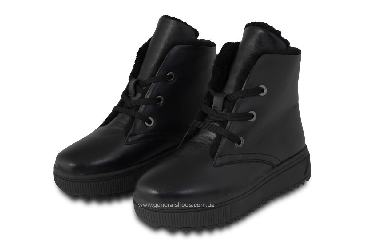Зимние женские кожаные ботинки 928 черные фото 1