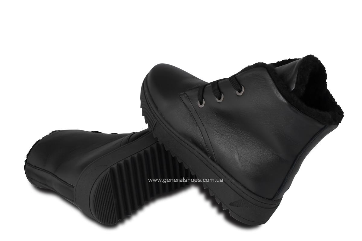 Зимние женские кожаные ботинки 928 черные фото 2