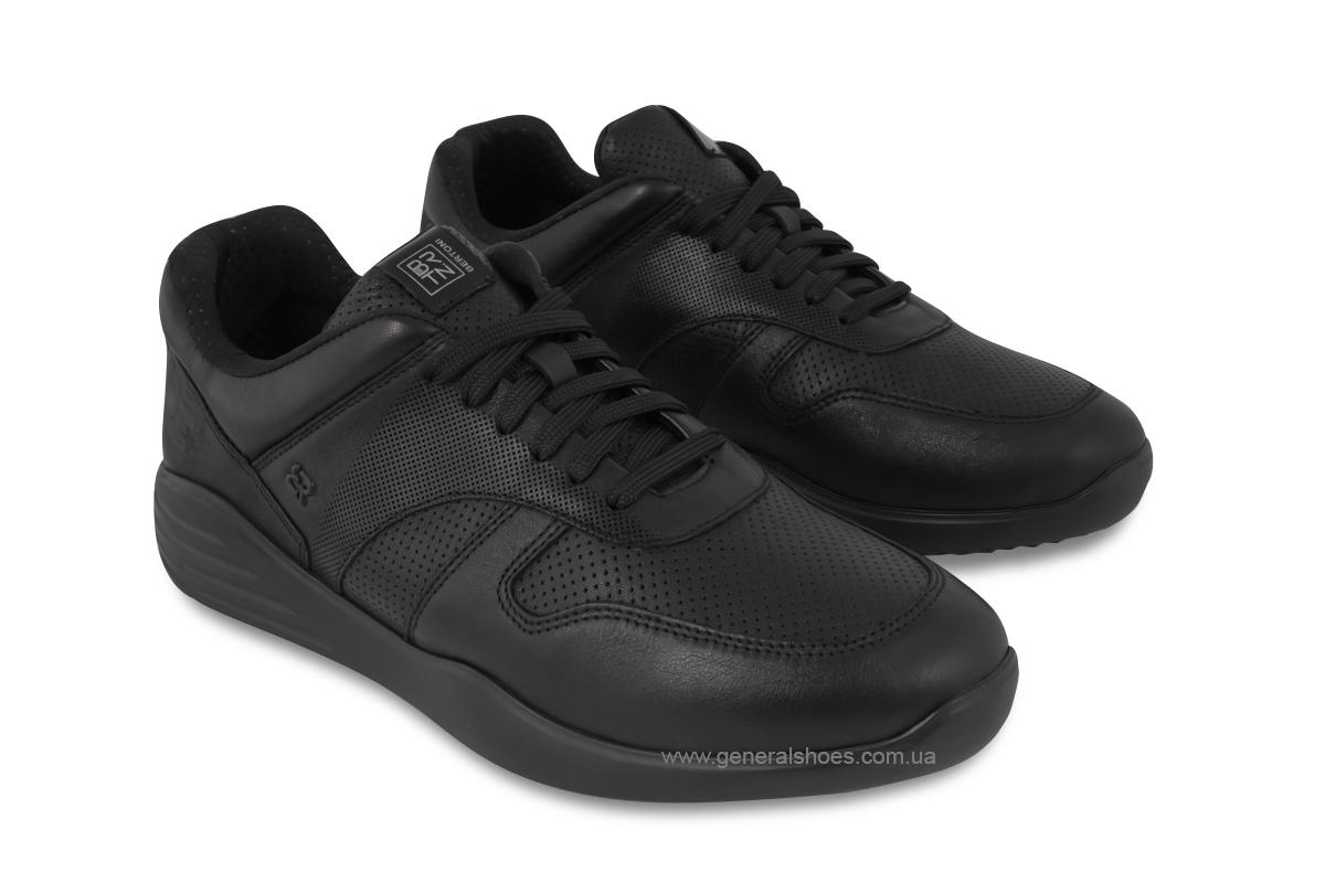 Мужские кожаные кроссовки Bertoni E28500 черные фото 1