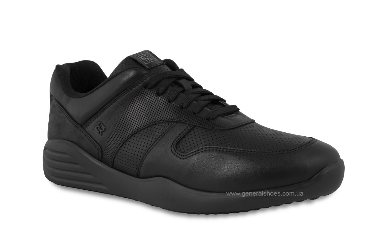 Мужские кожаные кроссовки Bertoni E28500 черные фото 2
