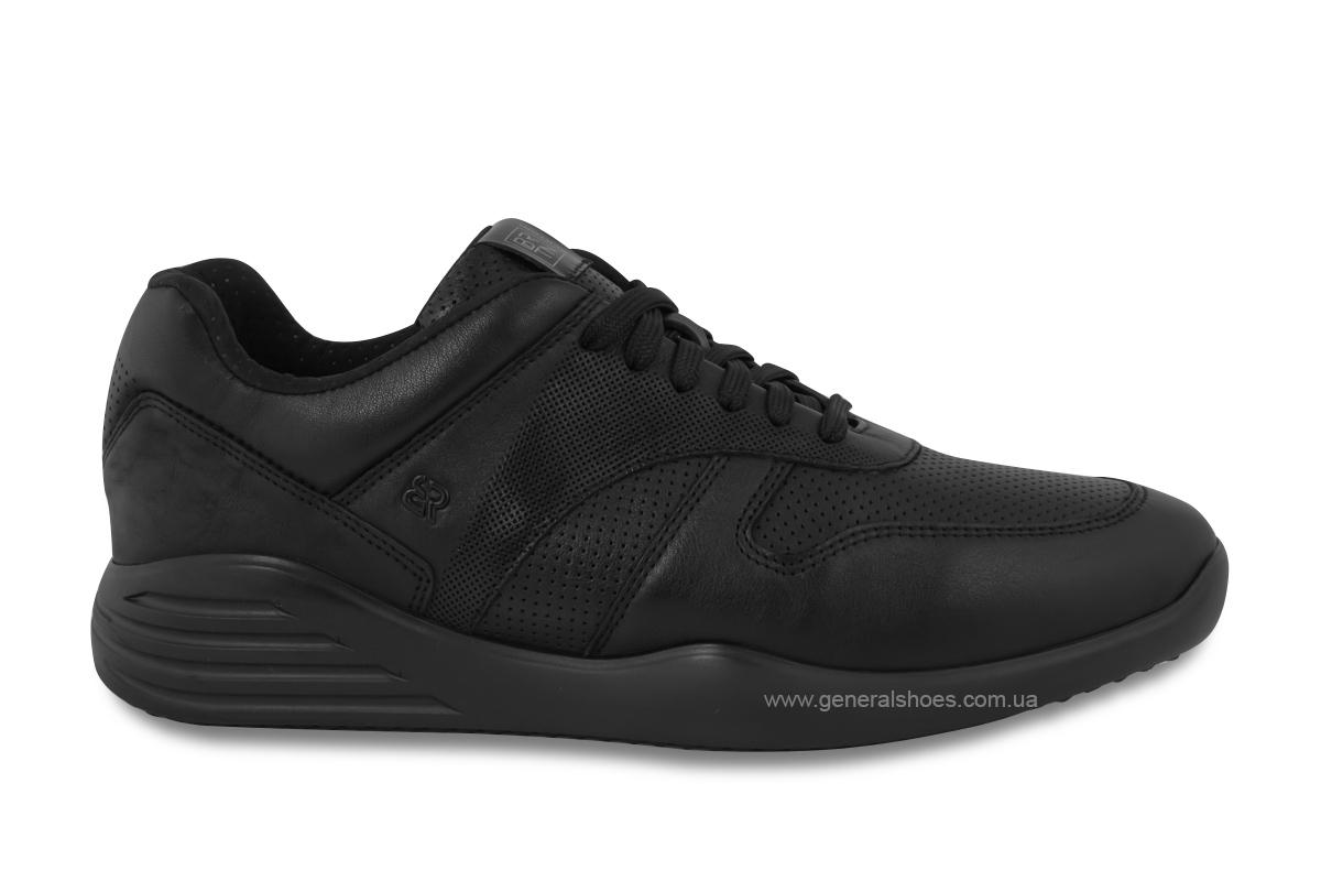 Мужские кожаные кроссовки Bertoni E28500 черные фото 3