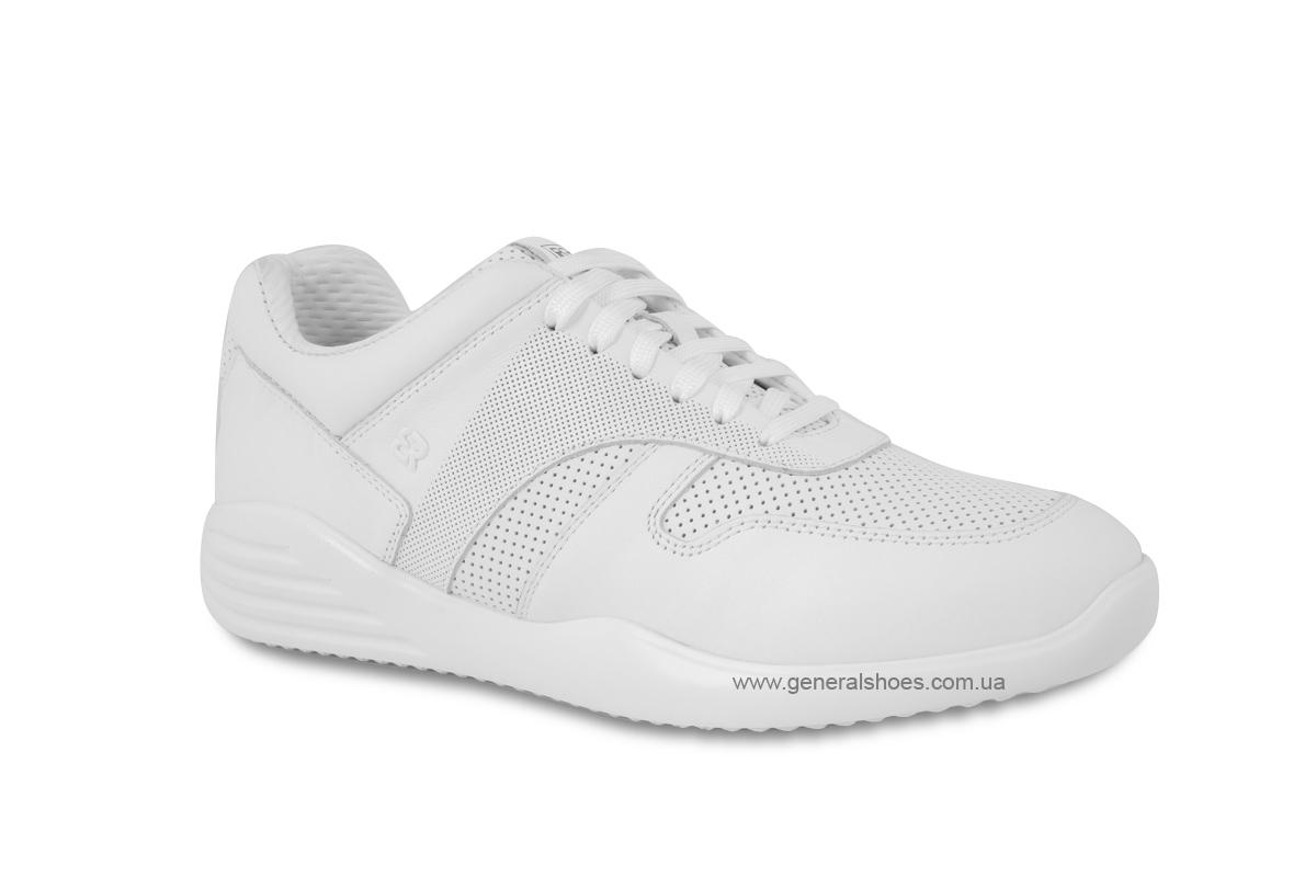 Мужские кожаные кроссовки Bertoni E28509 белые фото 2