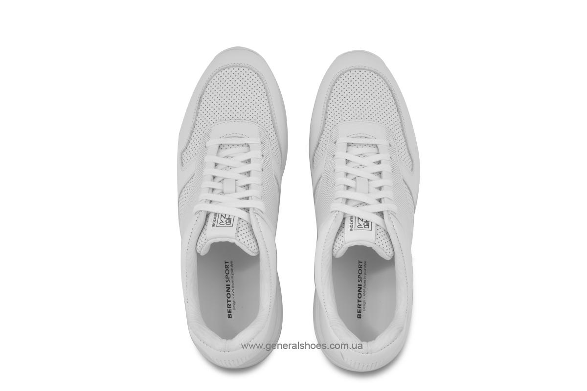 Мужские кожаные кроссовки Bertoni E28509 белые фото 3