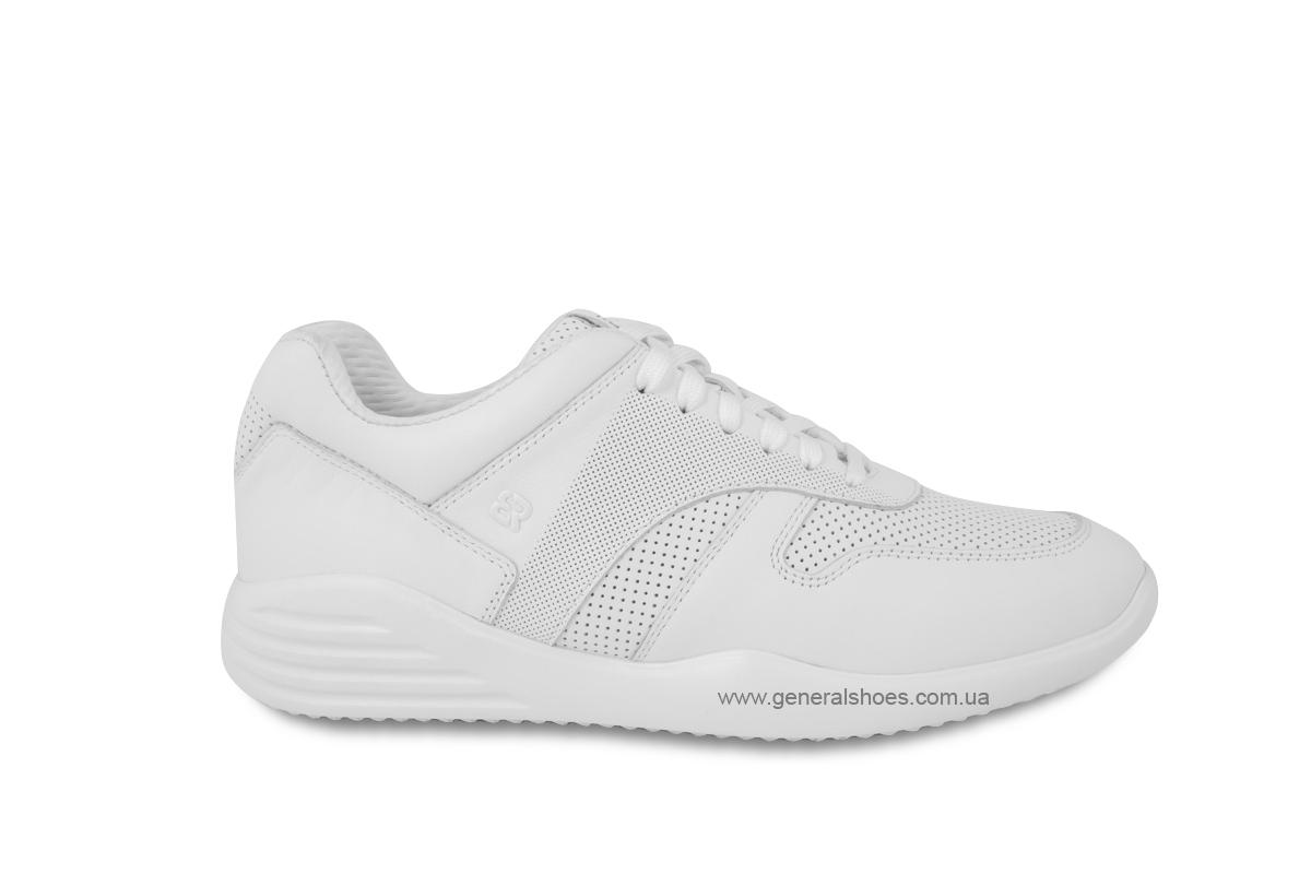Мужские кожаные кроссовки Bertoni E28509 белые фото 4