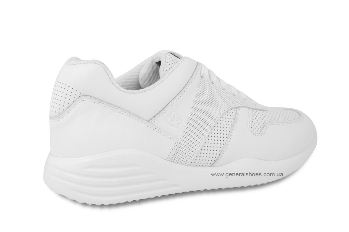 Мужские кожаные кроссовки Bertoni E28509 белые фото 5