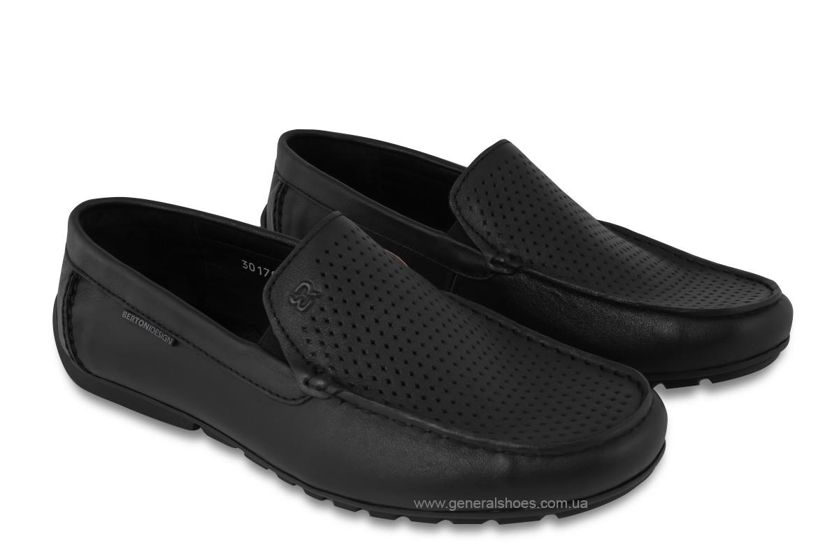 Мужские мокасины кожаные Bertoni 30170 черные фото 1