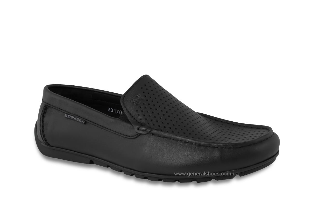 Мужские мокасины кожаные Bertoni 30170 черные фото 2