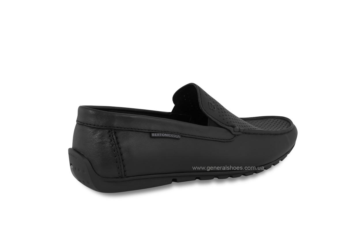 Мужские мокасины кожаные Bertoni 30170 черные фото 3
