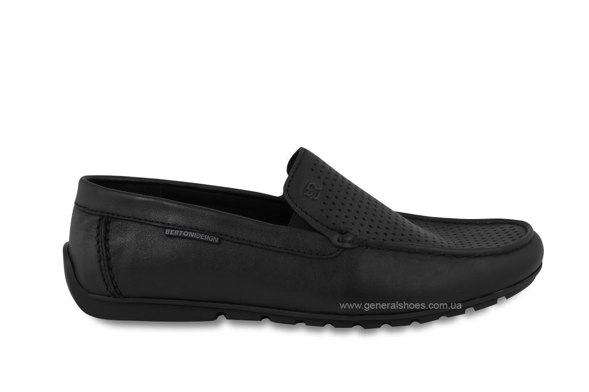Мужские мокасины кожаные Bertoni 30170 черные фото 4