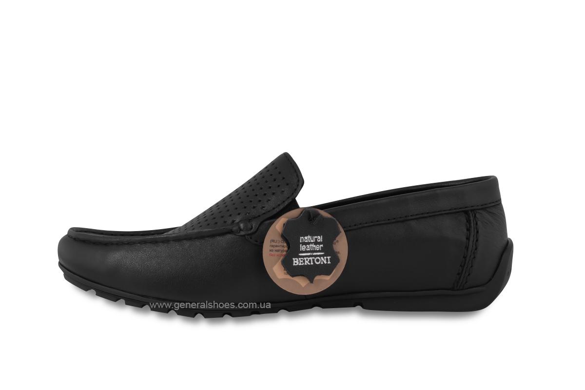 Мужские мокасины кожаные Bertoni 30170 черные фото 6