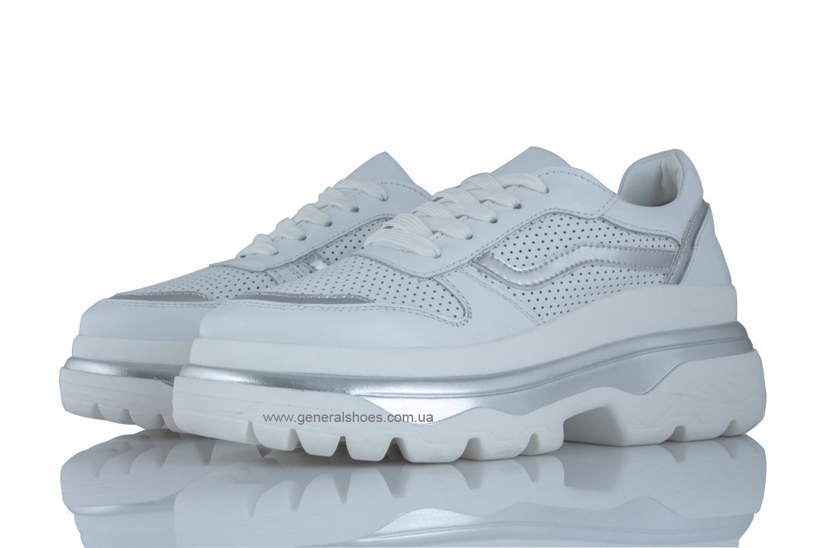 Летние белые женские кроссовки PF-240 кожаные фото 1