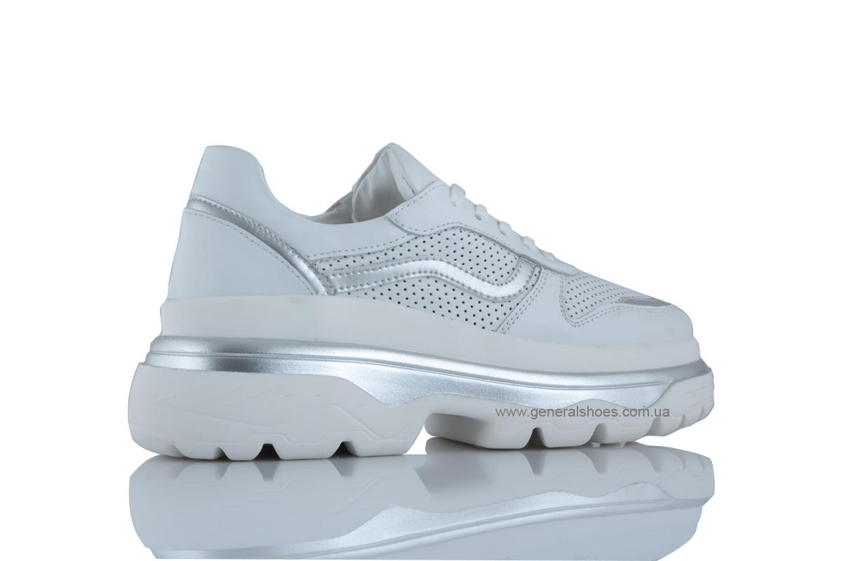 Летние белые женские кроссовки PF-240 кожаные фото 3