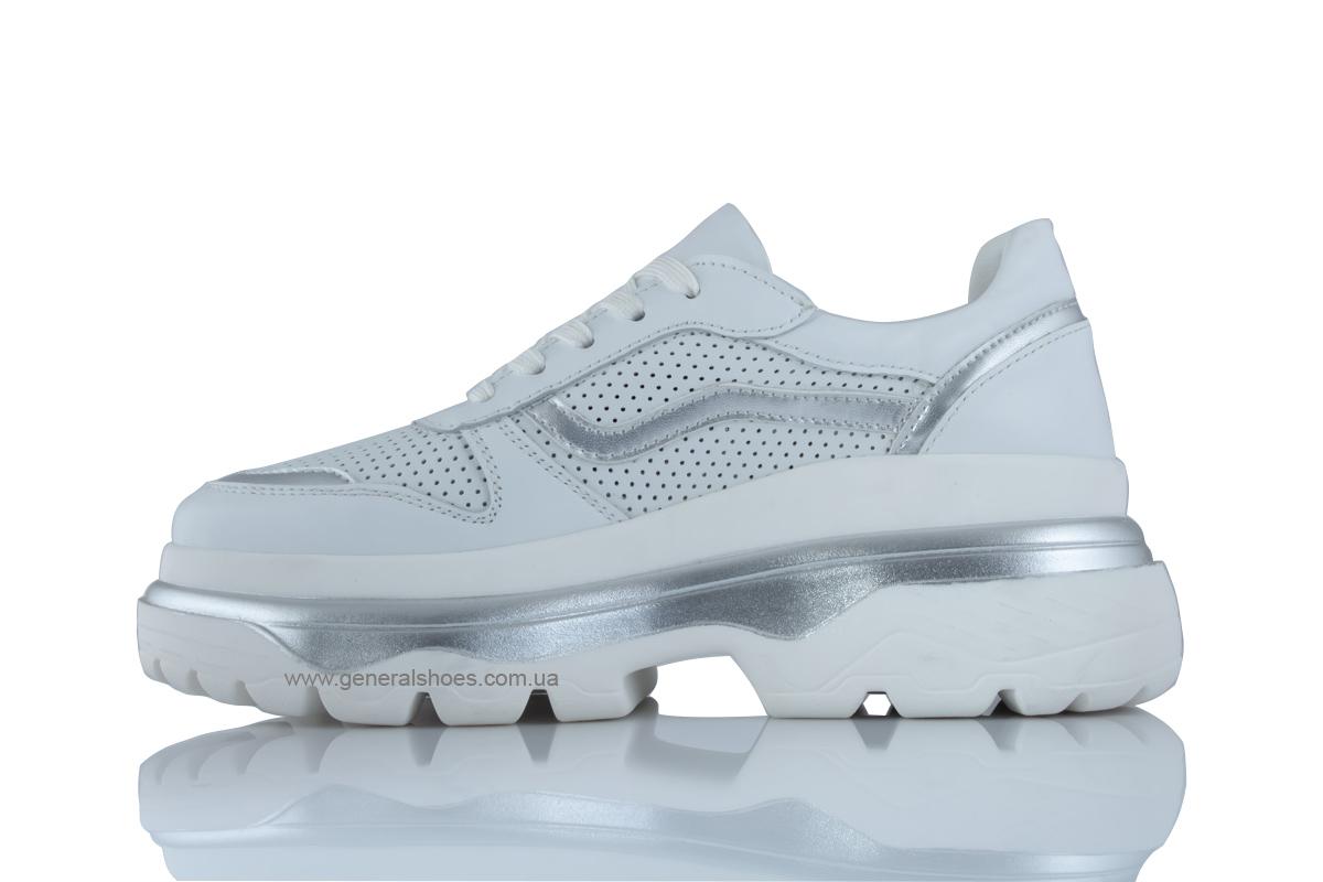 Летние белые женские кроссовки PF-240 кожаные фото 5