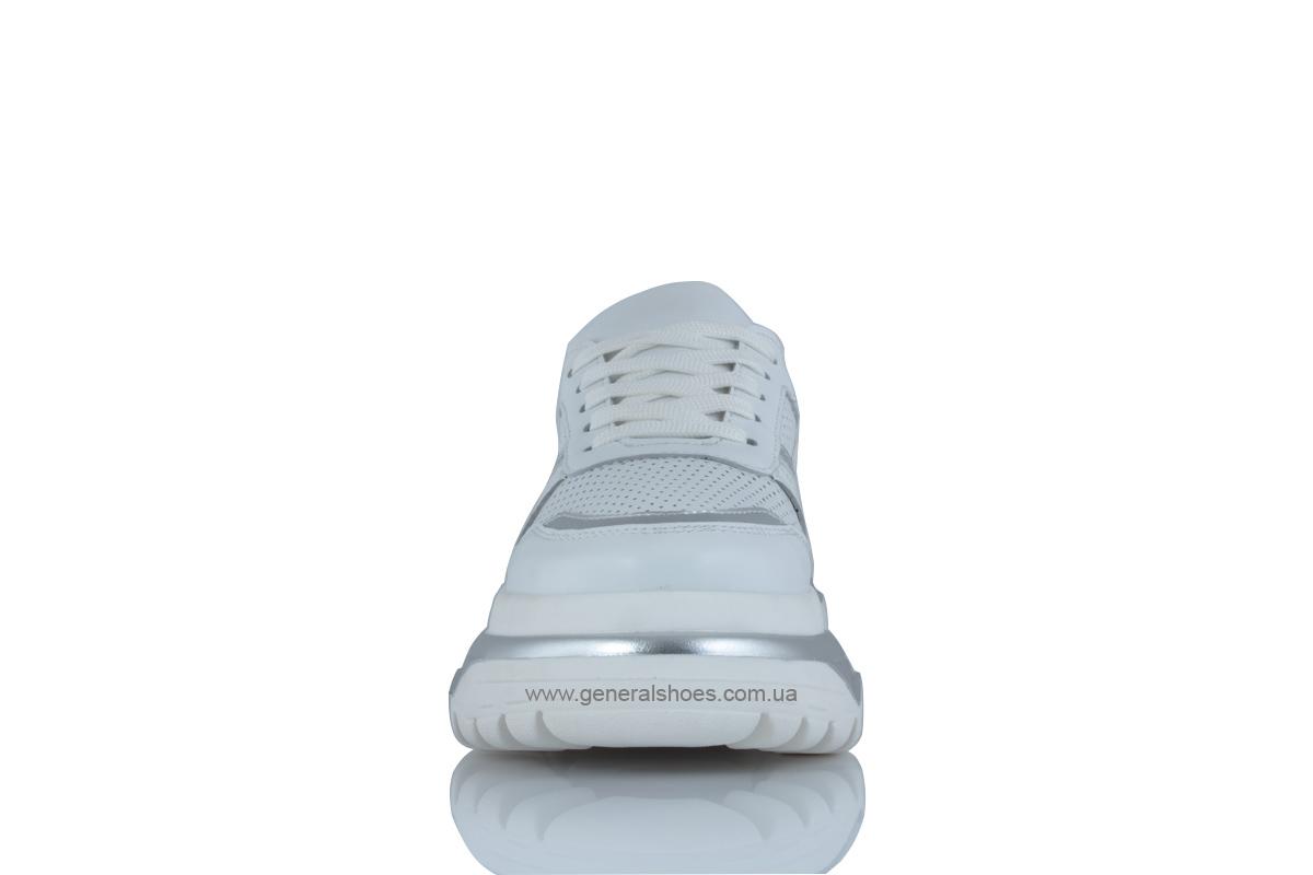 Летние белые женские кроссовки PF-240 кожаные фото 6