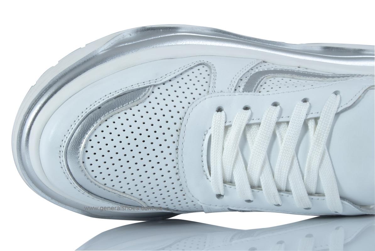 Летние белые женские кроссовки PF-240 кожаные фото 7