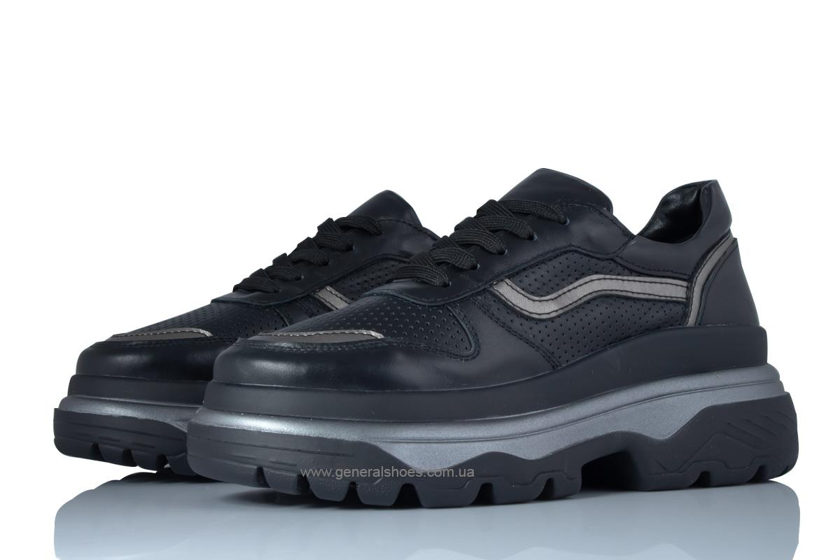 Летние кожаные женские кроссовки PF-240 черные фото 1