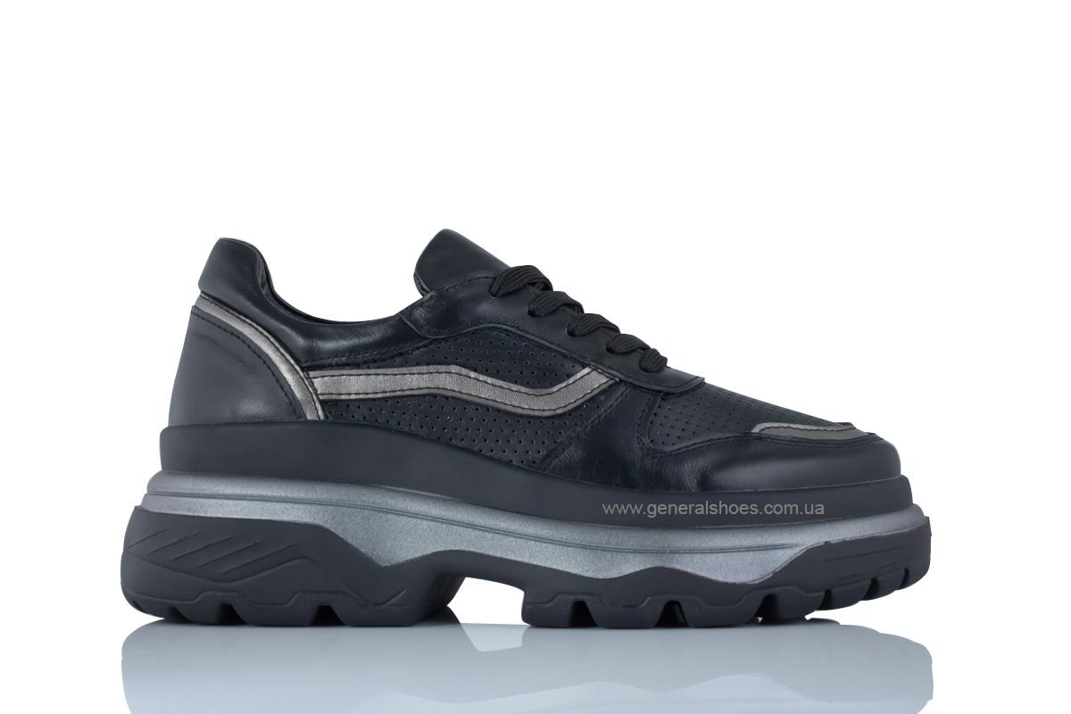 Летние кожаные женские кроссовки PF-240 черные фото 2