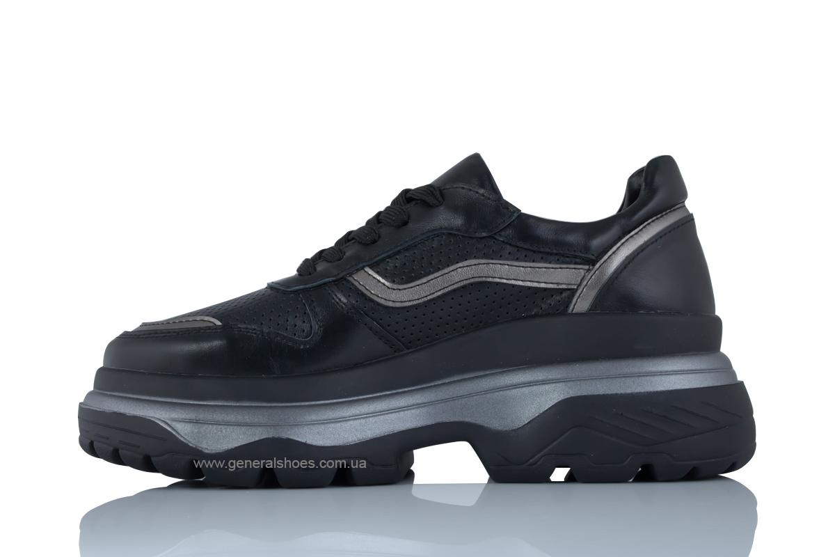 Летние кожаные женские кроссовки PF-240 черные фото 4
