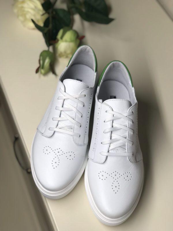 Белые женские кеды V 063-2072 кожаные фото 6