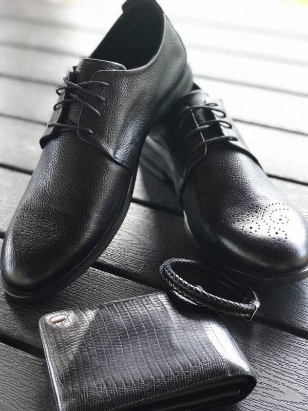 Мужские кожаные туфли VL 741-6236-55 фото 2
